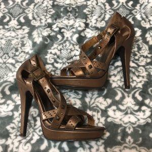 Paprika Bronze Studded Strappy Heels